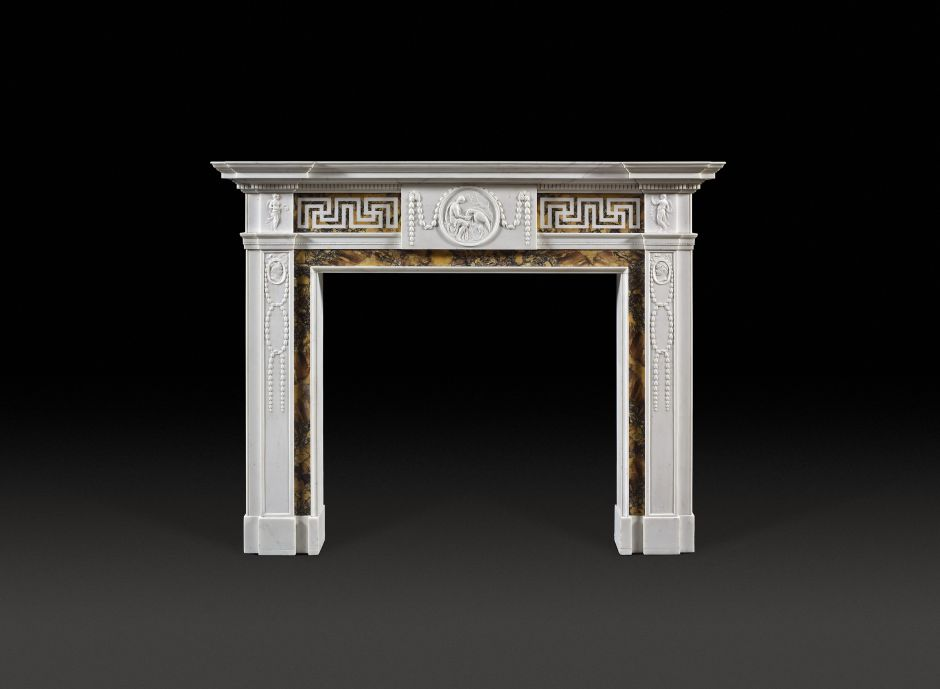 George III Neoclassical Antique Fireplace