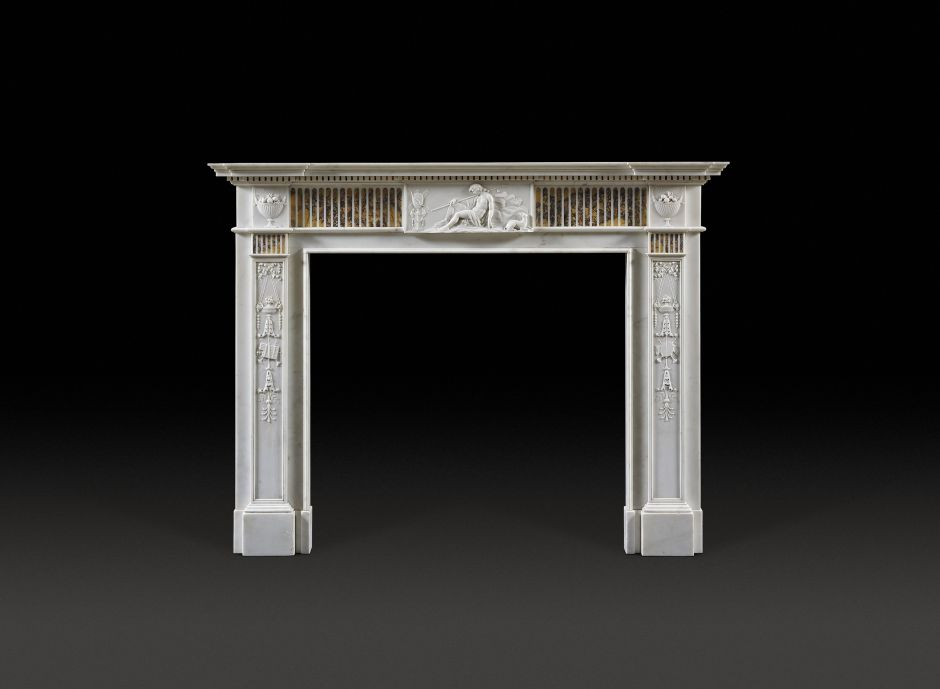 sienna marble antique fireplace