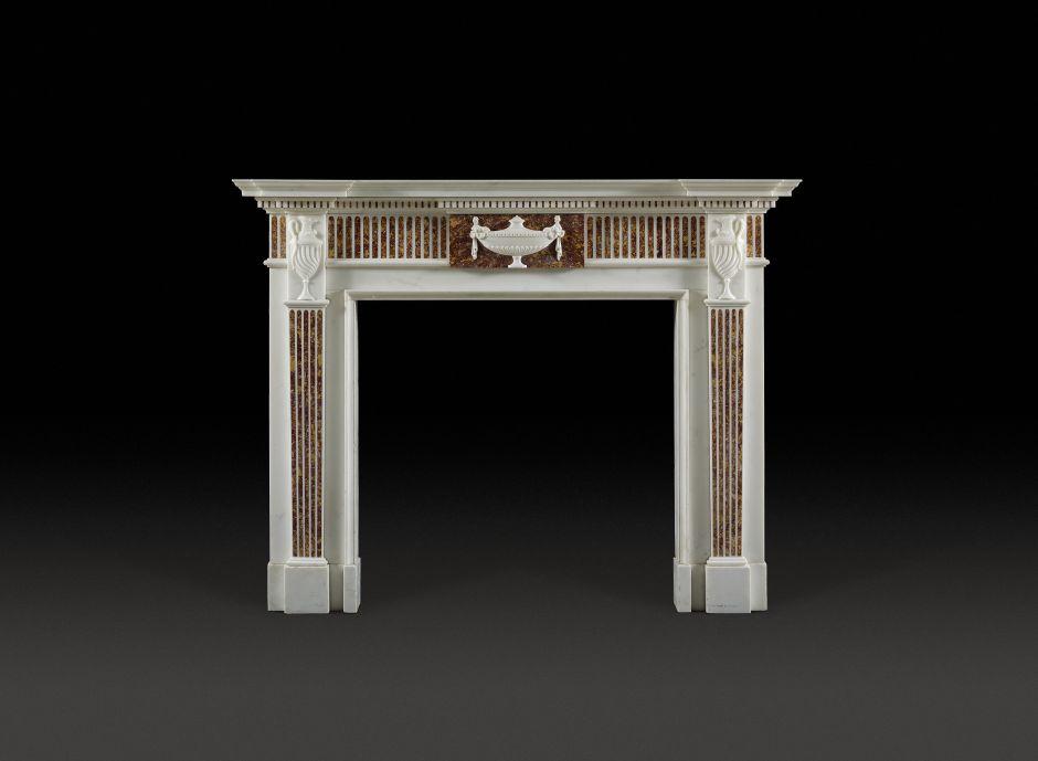 carrara and spanish brocatello antique fireplace