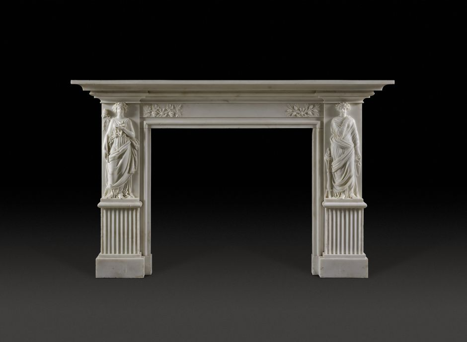 white antique marble fireplace