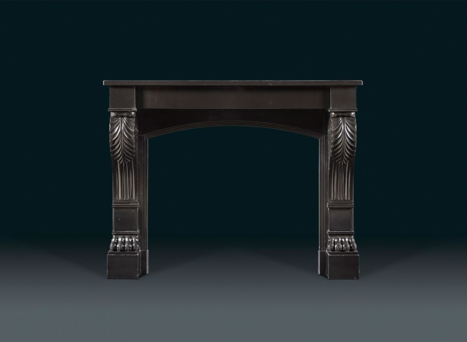 black marble antique fireplace