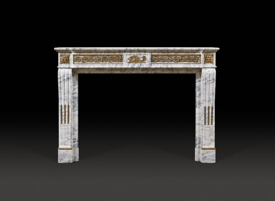 french white antique fireplace