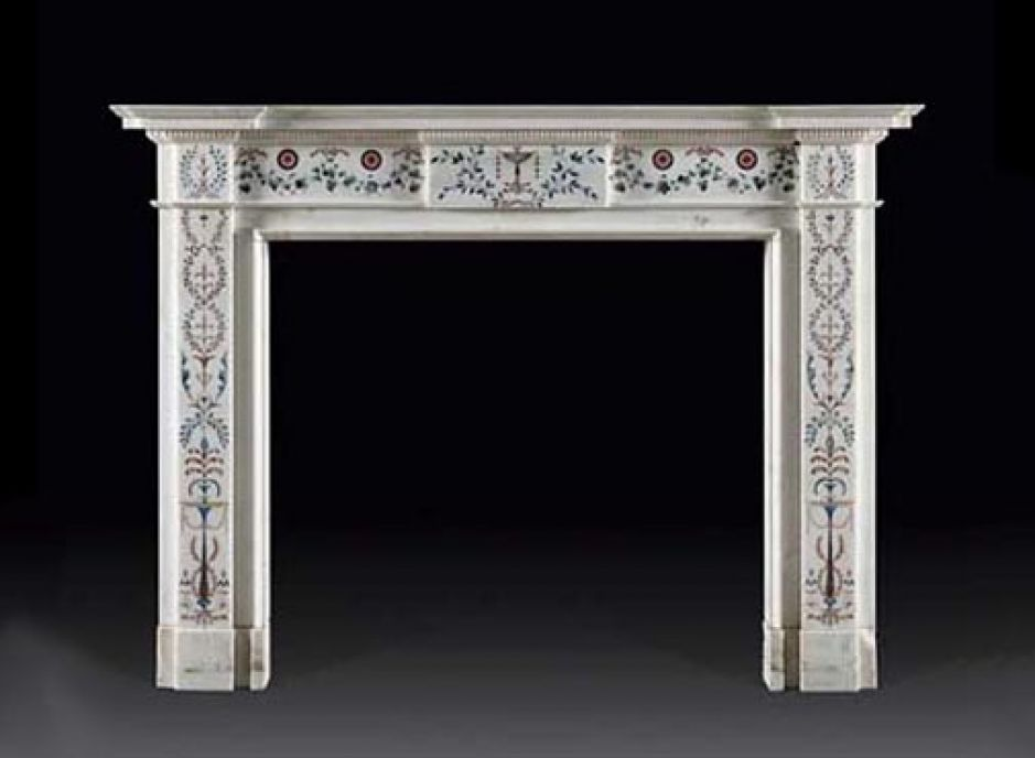 white antique fireplace