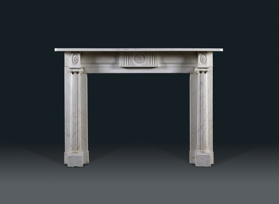 white marble antique fireplace