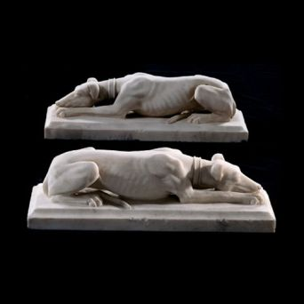 Carved Marble Greyhounds